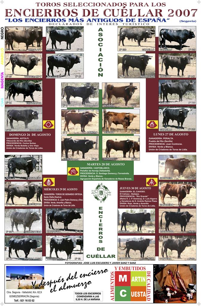 Cartel toros Encierros de Cuéllar del 2007